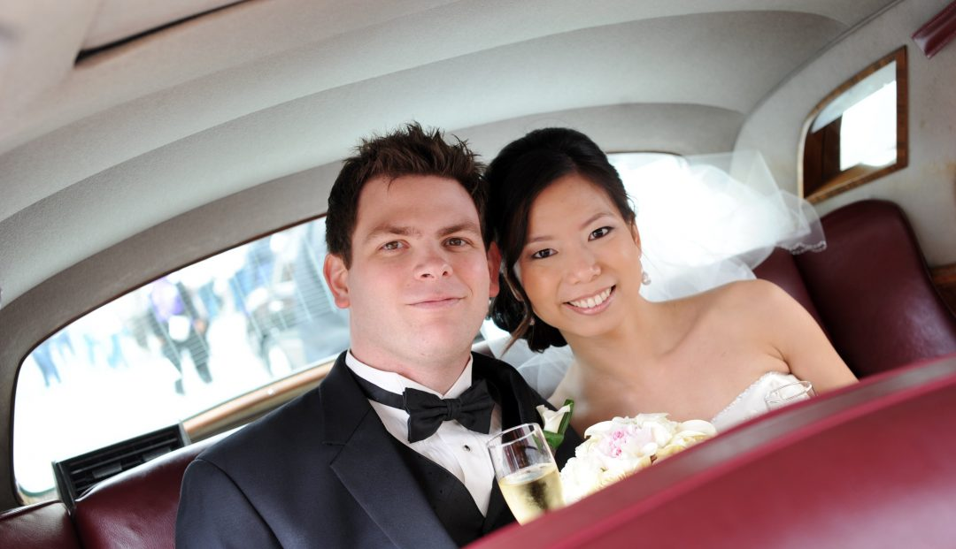 Matthew and Huyen heading to their reception